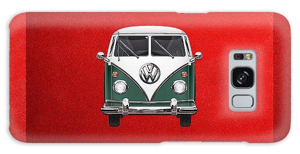 Volkswagen Galaxy Case - Volkswagen Type 2 - Green And White Volkswagen T 1 Samba Bus Over Red Canvas  by Serge Averbukh