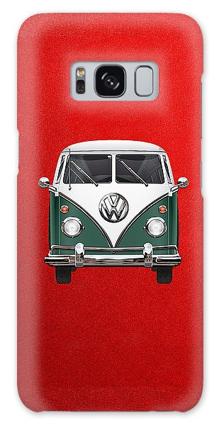 Vw Camper Galaxy Case - Volkswagen Type 2 - Green And White Volkswagen T 1 Samba Bus Over Red Canvas  by Serge Averbukh