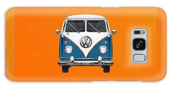 Volkswagen Galaxy Case - Volkswagen Type 2 - Blue And White Volkswagen T 1 Samba Bus Over Orange Canvas  by Serge Averbukh