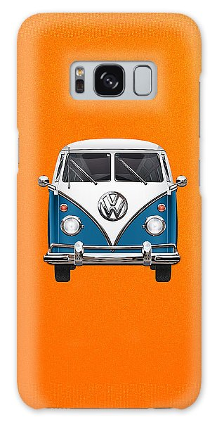 Vw Camper Galaxy Case - Volkswagen Type 2 - Blue And White Volkswagen T 1 Samba Bus Over Orange Canvas  by Serge Averbukh