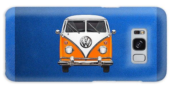 Volkswagen Galaxy Case - Volkswagen Type - Orange And White Volkswagen T 1 Samba Bus Over Blue Canvas by Serge Averbukh
