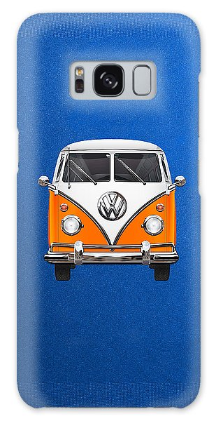 Vw Camper Galaxy Case - Volkswagen Type - Orange And White Volkswagen T 1 Samba Bus Over Blue Canvas by Serge Averbukh