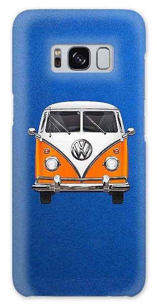 Vw Bus Galaxy Case - Volkswagen Type - Orange And White Volkswagen T 1 Samba Bus Over Blue Canvas by Serge Averbukh