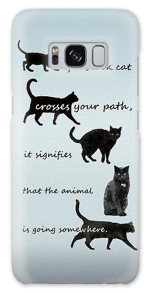 Galaxy Case featuring the digital art Black Cat Crossing by Ivana Westin