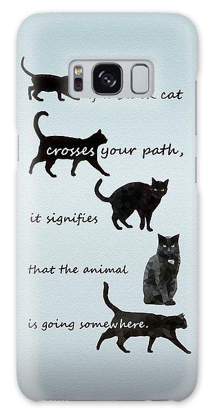 Black Cat Crossing Galaxy Case by Ivana Westin
