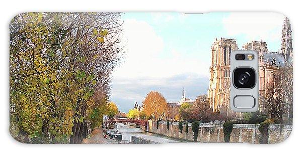 The Seine And Quay Beside Notre Dame, Autumn Galaxy Case by Felipe Adan Lerma