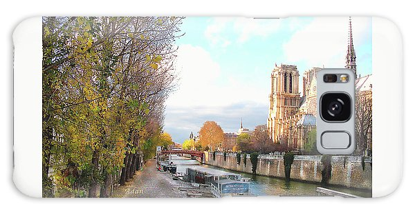 The Seine And Quay Beside Notre Dame, Autumn Galaxy Case