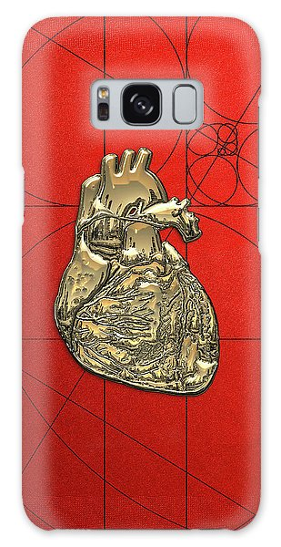 Pop Art Galaxy Case - Heart Of Gold - Golden Human Heart On Red Canvas by Serge Averbukh