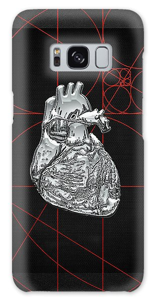 Pop Art Galaxy Case - Silver Human Heart On Black Canvas by Serge Averbukh