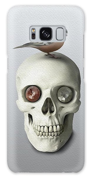 Galaxy Case featuring the painting Skull And Bird by Ivana Westin