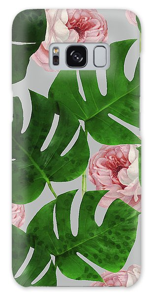 Monstera Rose Pattern Galaxy Case