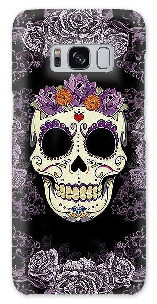 Halloween Galaxy Case - Vintage Sugar Skull And Roses by Tammy Wetzel