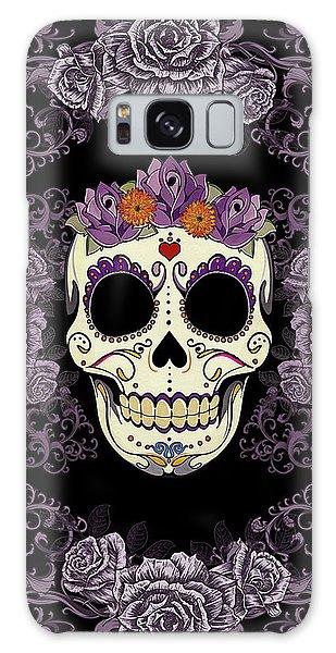 Calavera Galaxy Case - Vintage Sugar Skull And Roses by Tammy Wetzel