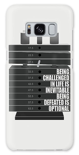 Workout Galaxy Case - Being Challenged In Life Is Inevitable Being Defeated Is Optional Gym Motivational Quotes Poster by Lab No 4