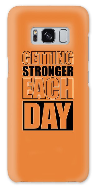 Workout Galaxy Case - Getting Stronger Each Day Gym Motivational Quotes Poster by Lab No 4