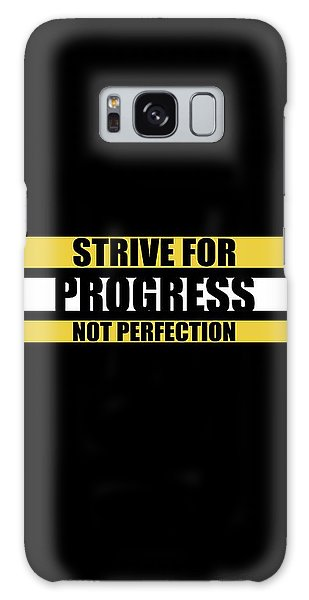 Workout Galaxy Case - Strive For Progress Not Perfection Gym Motivational Quotes Poster by Lab No 4