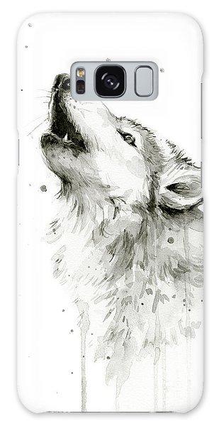 Watercolor Galaxy Case - Howling Wolf Watercolor by Olga Shvartsur