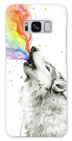 Wolf Rainbow Watercolor Galaxy Case