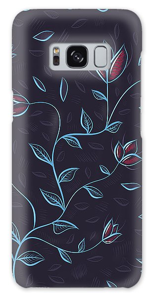 Glowing Blue Abstract Flowers Galaxy Case