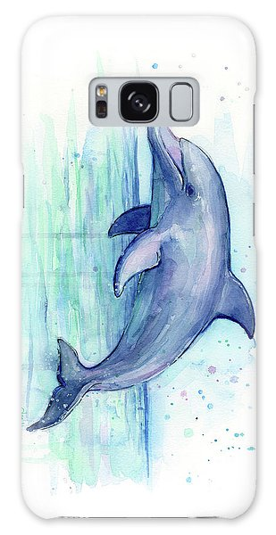 Dolphin Galaxy Case - Dolphin Watercolor by Olga Shvartsur