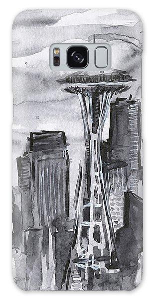 Black And White Art Galaxy Case - Seattle Skyline Space Needle by Olga Shvartsur