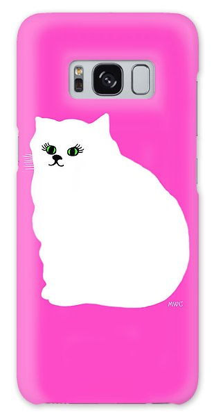 Cartoon Plump White Cat On Pink Galaxy Case