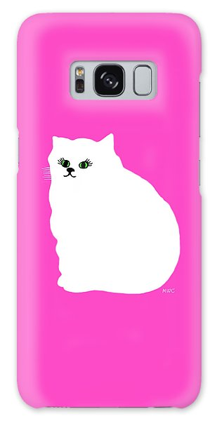 Cartoon Plump White Cat On Pink Galaxy Case by Marian Cates