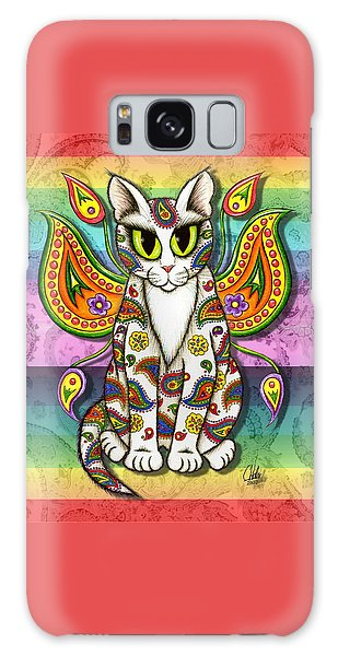 Rainbow Paisley Fairy Cat Galaxy Case by Carrie Hawks