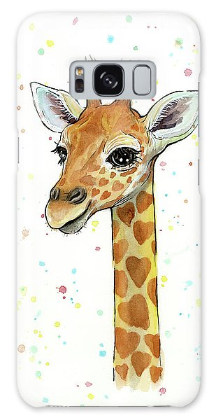 Baby Giraffe Watercolor With Heart Shaped Spots Galaxy S8 Case