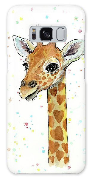 Baby Giraffe Watercolor With Heart Shaped Spots Galaxy Case