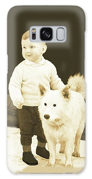 Sweet Vintage Toddler With His White Mutt Galaxy Case