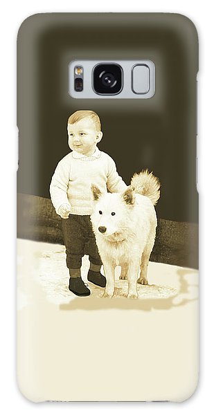 Sweet Vintage Toddler With His White Mutt Galaxy Case by Marian Cates