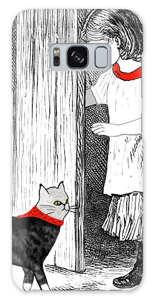 Vintage Girl Lets In Her Gray Cat Galaxy Case