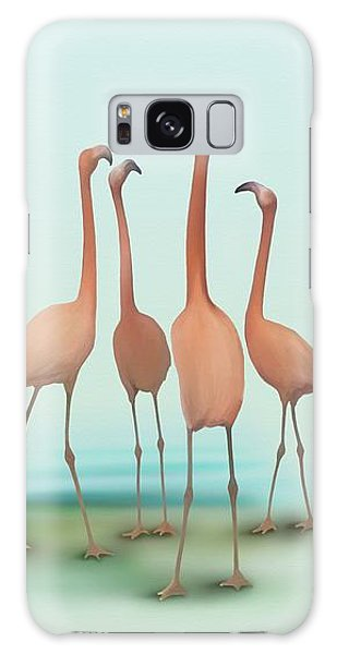 Galaxy Case featuring the painting Flamingo Mingle by Ivana Westin