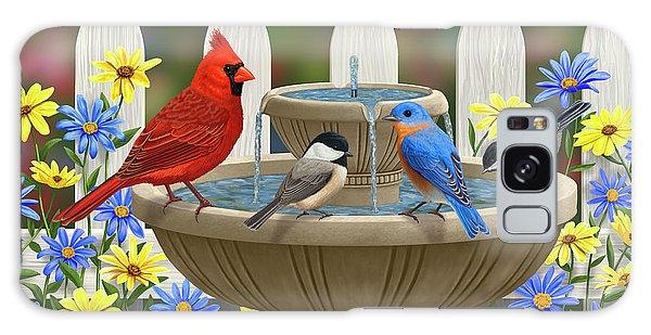 The Colors Of Spring - Bird Fountain In Flower Garden Galaxy S8 Case