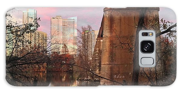 Austin Hike And Bike Trail - Train Trestle 1 Sunset Triptych Middle Galaxy Case