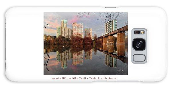 Austin Hike And Bike Trail - Train Trestle 1 Sunset Left Greeting Card Poster - Over Lady Bird Lake Galaxy Case by Felipe Adan Lerma