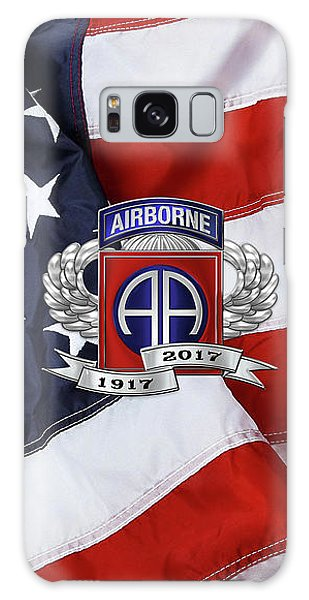 82nd Airborne Division 100th Anniversary Insignia Over American Flag  Galaxy Case
