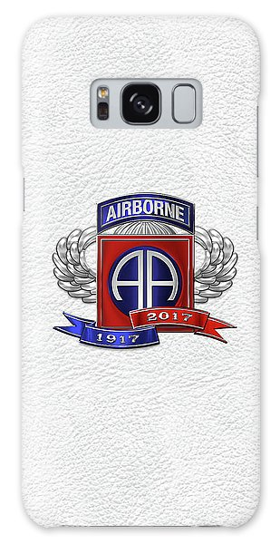 82nd Airborne Division 100th Anniversary Insignia Over White Leather Galaxy Case