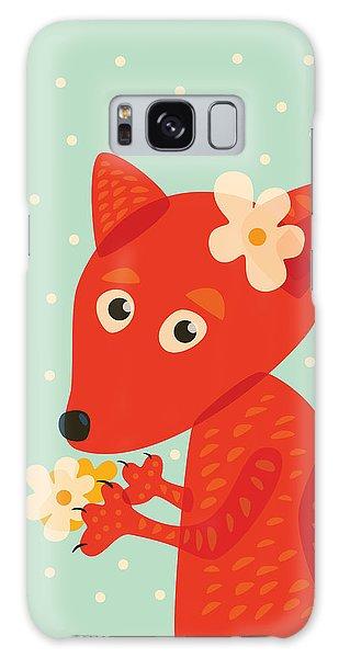 Cute Pretty Fox With Flowers Galaxy Case