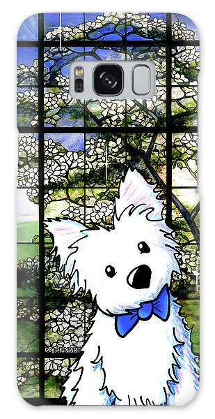 Westie At Dogwood Window Galaxy Case