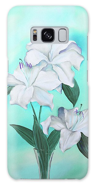 Galaxy Case featuring the mixed media Blue And White by Elizabeth Lock