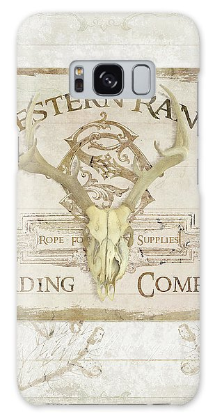 Western Range 3 Old West Deer Skull Wooden Sign Trading Company Galaxy Case by Audrey Jeanne Roberts