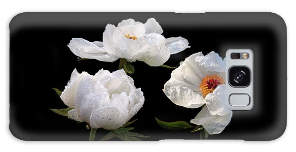 Raindrops On White Tree Peonies Galaxy Case by Gill Billington