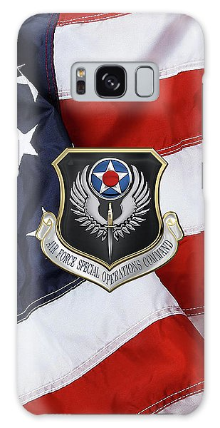 Air Force Special Operations Command -  A F S O C  Shield Over American Flag Galaxy Case by Serge Averbukh