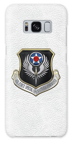 Air Force Special Operations Command -  A F S O C  Shield Over White Leather Galaxy Case by Serge Averbukh