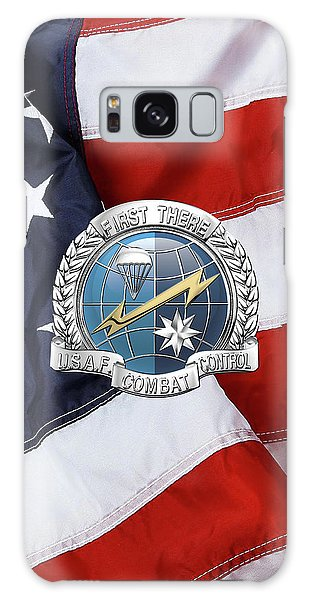 U. S.  Air Force Combat Control Teams - Combat Controller C C T Badge Over American Flag Galaxy Case by Serge Averbukh