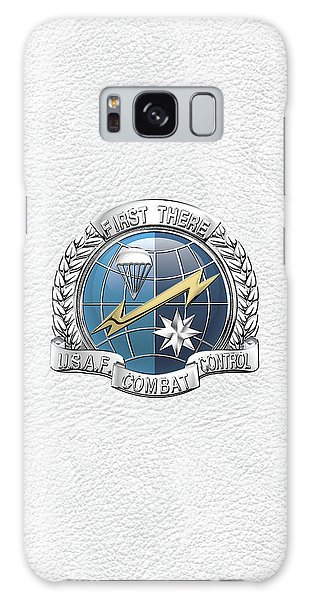 U. S.  Air Force Combat Control Teams - Combat Controller C C T Badge Over White Leather Galaxy Case by Serge Averbukh