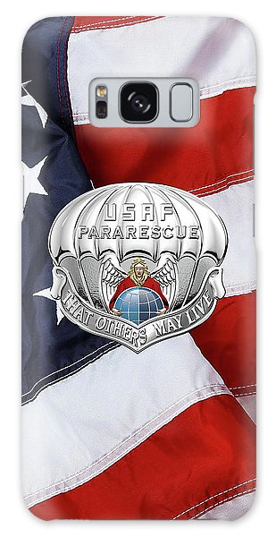 U. S.  Air Force Pararescuemen - P J Badge Over American Flag Galaxy Case by Serge Averbukh