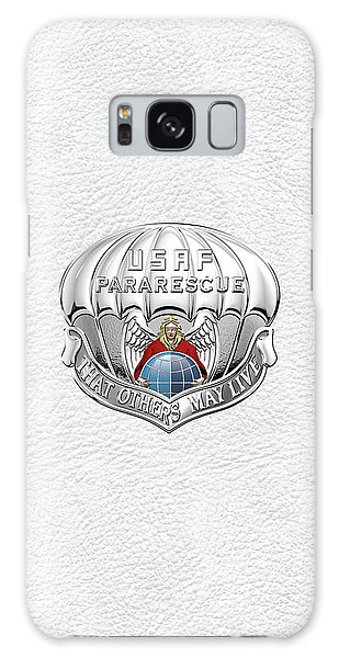 U. S.  Air Force Pararescuemen - P J Badge Over White Leather Galaxy Case by Serge Averbukh